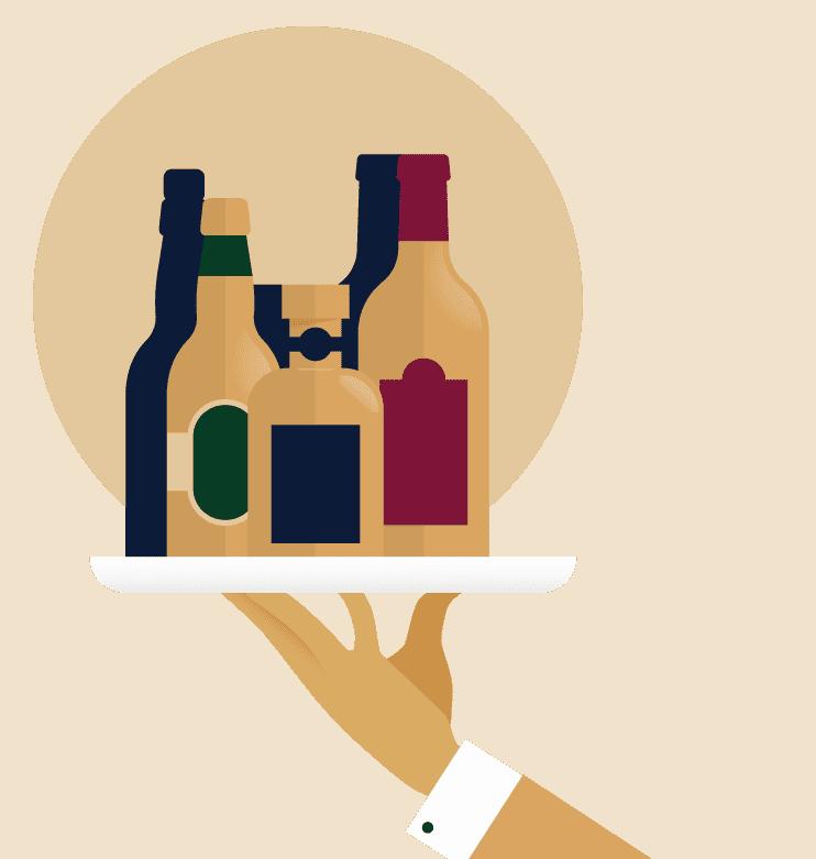 ober met 3 flessen plateau illustratie - Avis