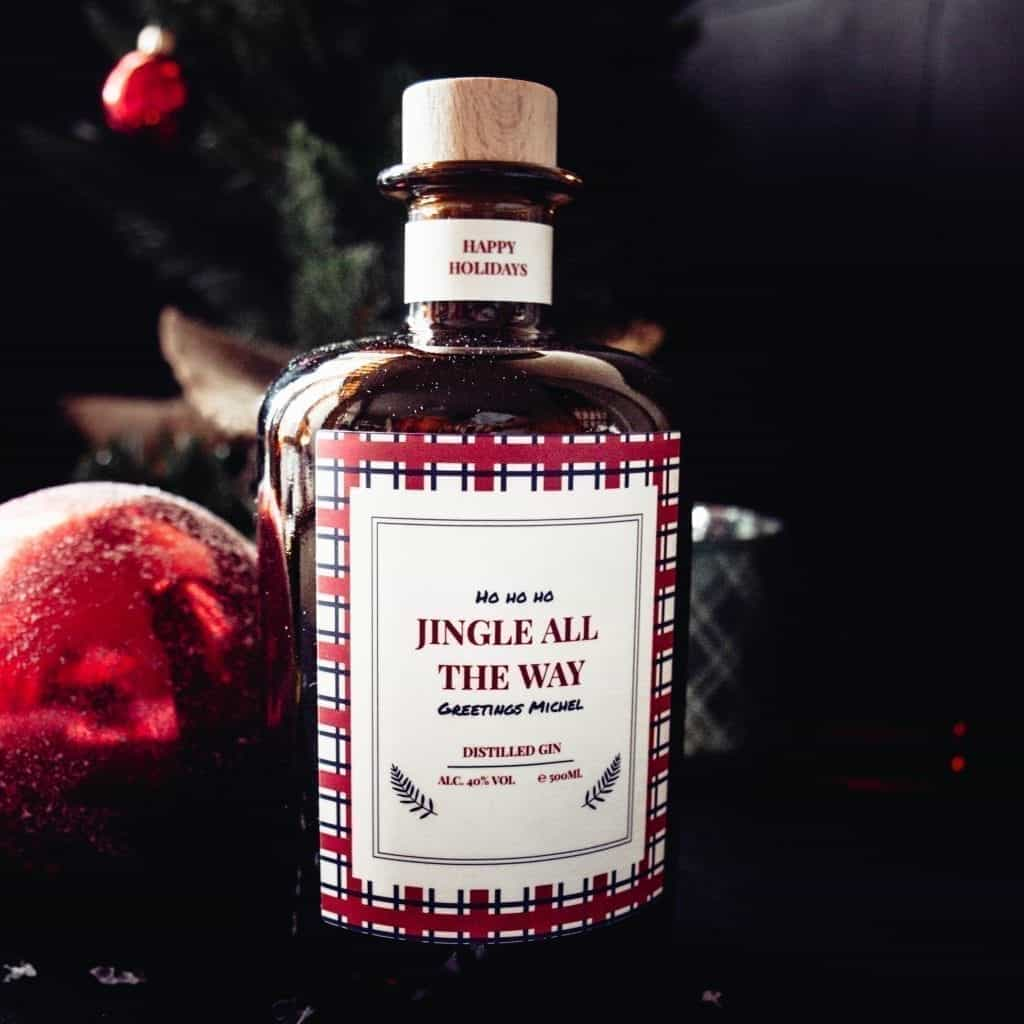gin fles met opschrift jingle all the way